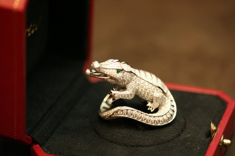 Cartier Emerald Diamond Platinum Alligator Ring For Sale 1