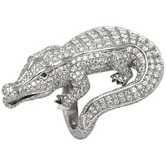 Cartier Emerald Diamond Platinum Alligator Ring