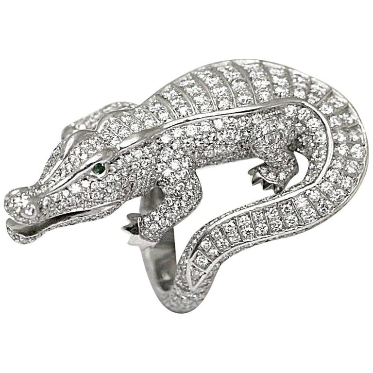 Cartier Emerald Diamond Platinum Alligator Ring For Sale