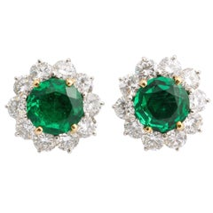 Cartier Emerald Diamond Platinum Clip and Post Earrings
