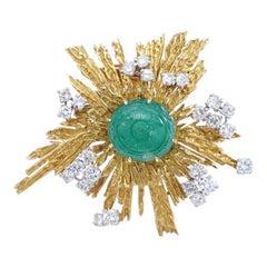 Cartier Emerald Diamond Yellow Gold Brooch, 1960s