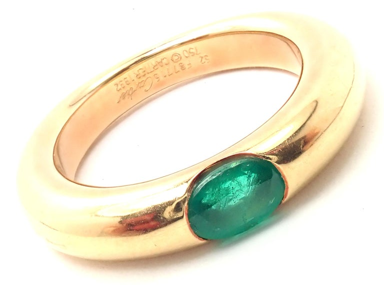 Cartier Emerald Ellipse Yellow Gold Band Ring For Sale 1