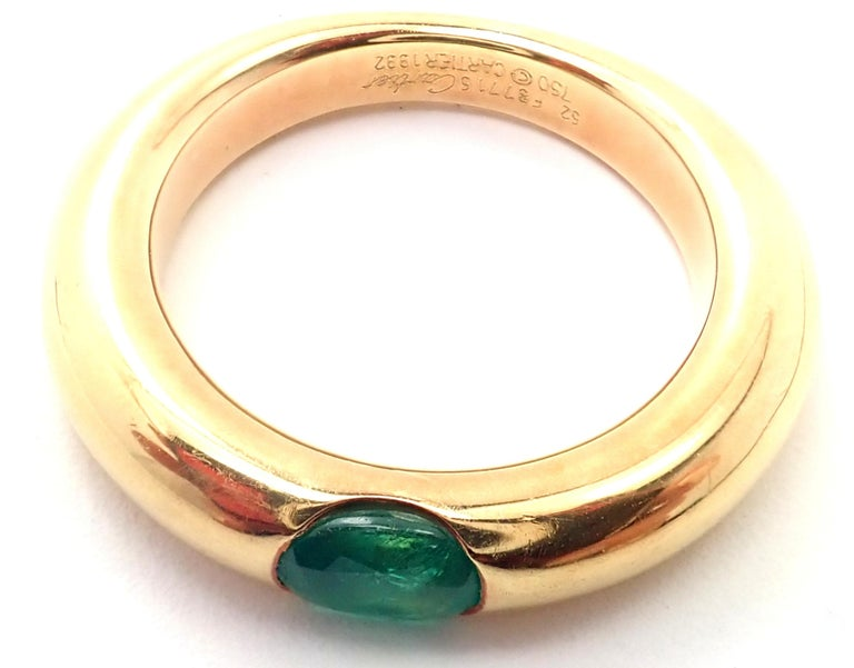 Cartier Emerald Ellipse Yellow Gold Band Ring For Sale 3