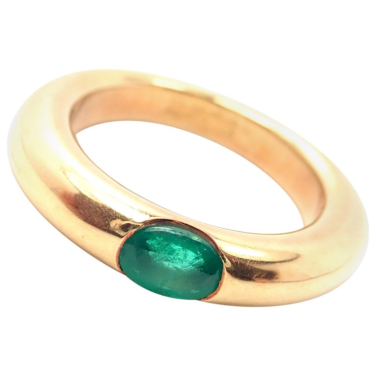 Cartier Emerald Ellipse Yellow Gold Band Ring For Sale