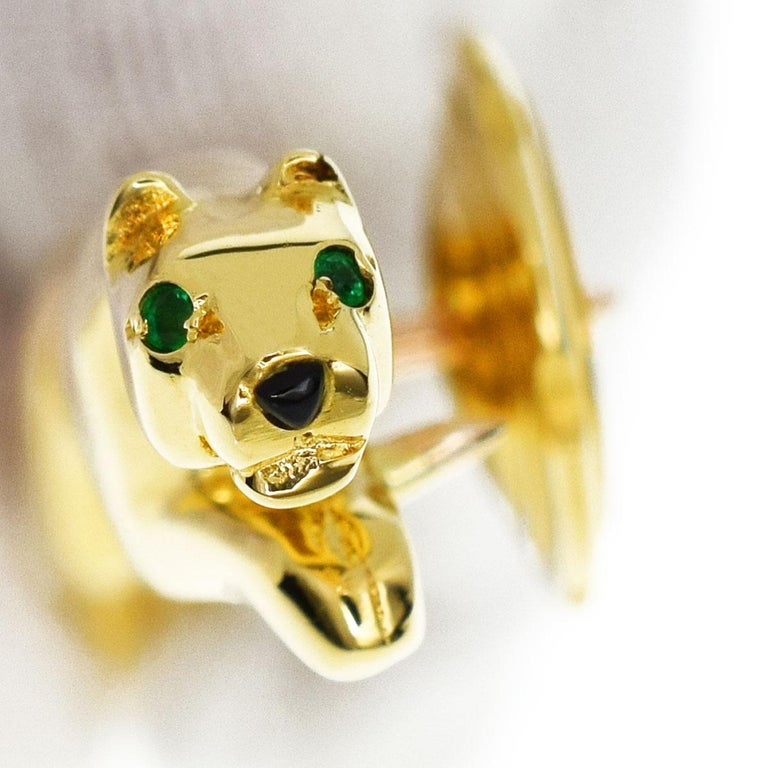 Cartier Emerald Onyx 18 Karat Yellow Gold Bondissante Panthere Pin Brooch In Good Condition For Sale In Tokyo, JP