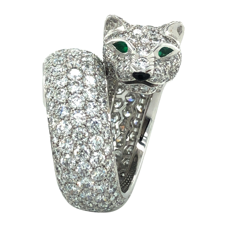 Cartier Emerald Onyx Diamond 18 Karat White Gold Lakarda Panthere Ring