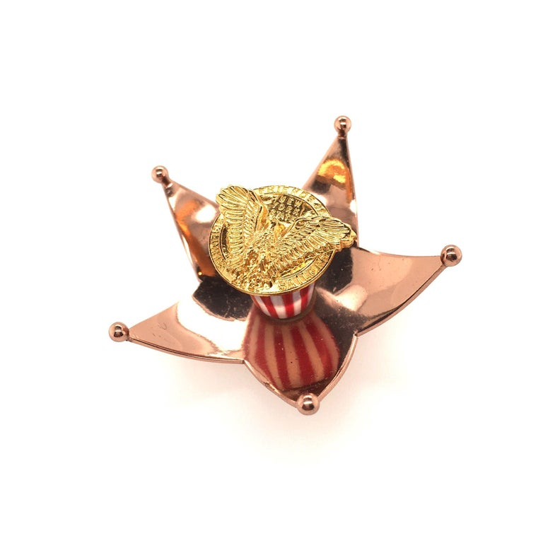 Cartier Enamel and Gilt Metal Stars and Stripes Brooch In Good Condition For Sale In New York, NY