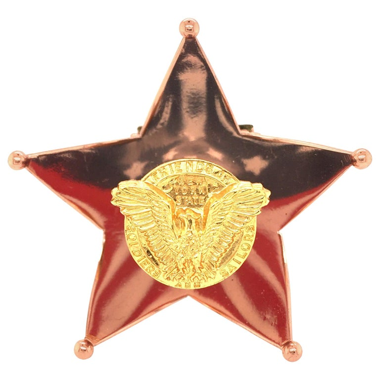 Cartier Enamel and Gilt Metal Stars and Stripes Brooch For Sale