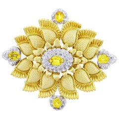 Cartier Enamel, Diamond and Yellow Garnet Brooch