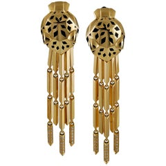 "Cartier Enamel Diamond Gold ""Panthere"" Earrings"