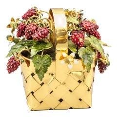 Cartier Enamel, Gilt Silver Strawberry Flower Basket