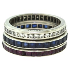 Cartier Estate 1950 Ruby, Diamond, and Sapphire Set of Three Rings in Platinum
