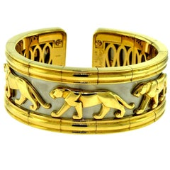 Cartier Estate Walking Panther Pharaon Yellow and White Gold Wide Cuff