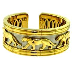 Cartier Estate Walking Panther Pharaon Yellow & White Gold Wide Bangle Bracelet