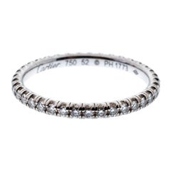 Cartier Etincelle De Cartier Diamond 18k White Gold Wedding Band Ring Size 52