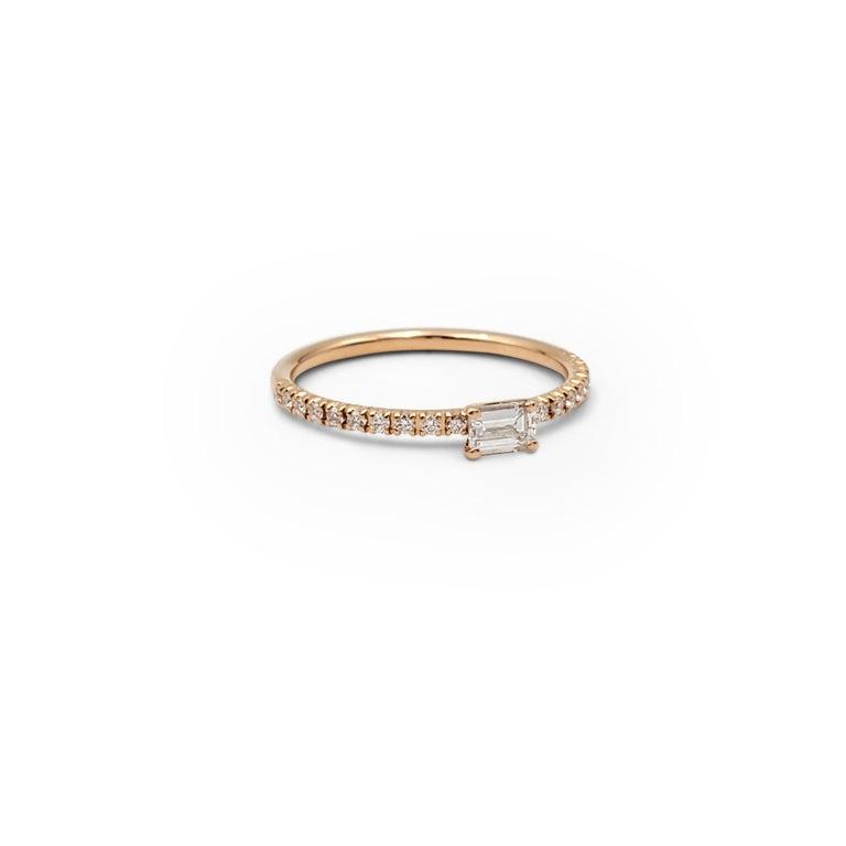 Emerald Cut Cartier 'Étincelle de Cartier' Rose Gold and Diamond Ring For Sale