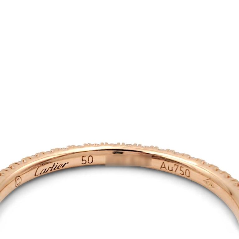 Round Cut Cartier 'Étincelle de Cartier' Rose Gold and Diamond Wedding Band For Sale