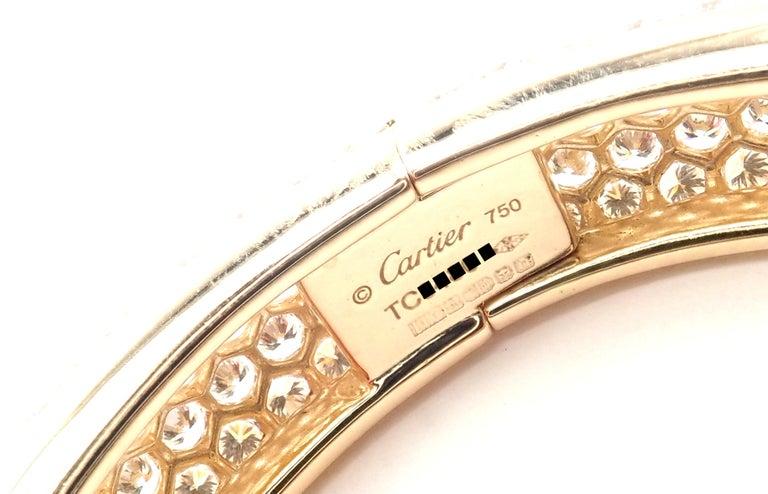 Brilliant Cut Cartier Etincelle Diamond Pave Yellow Gold Bangle Bracelet For Sale