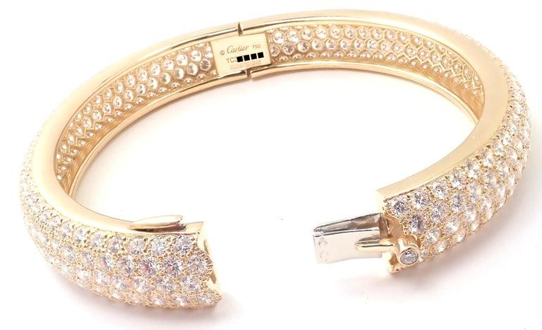 Women's or Men's Cartier Etincelle Diamond Pave Yellow Gold Bangle Bracelet For Sale