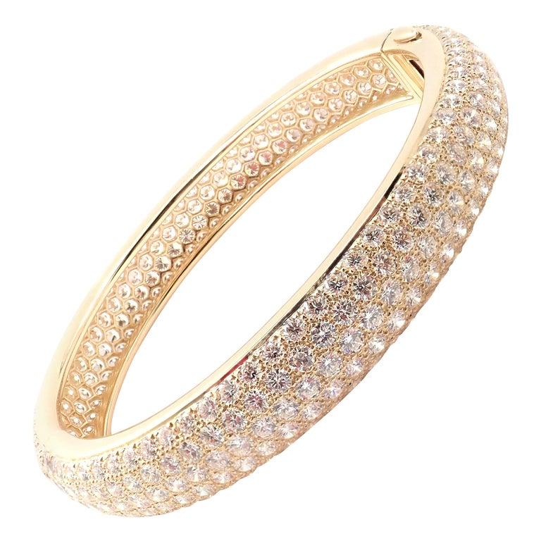 Cartier Etincelle Diamond Pave Yellow Gold Bangle Bracelet For Sale