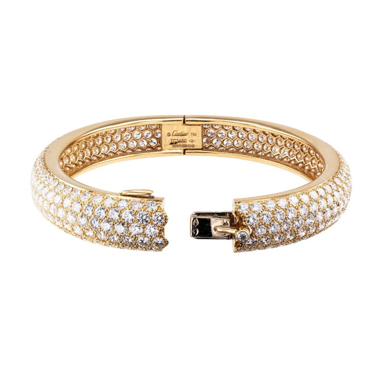 Modern Cartier Etincelle Diamond Pave Yellow Gold Hinged Bangle Bracelet