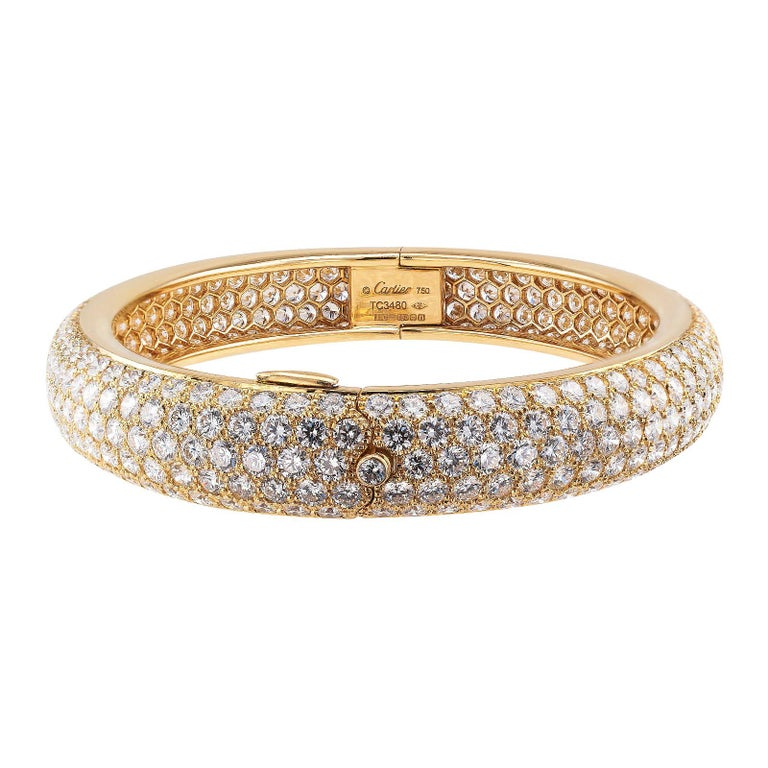 Round Cut Cartier Etincelle Diamond Pave Yellow Gold Hinged Bangle Bracelet