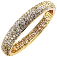 Cartier Etincelle Diamond Pavé Yellow Gold Hinged Bangle Bracelet