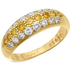 Cartier French Etincelle, White & Vivid Yellow Diamond 3 row Bombe Hoop Ring