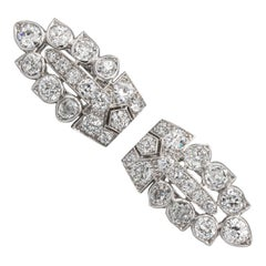 Cartier European Cut Diamonds 8.90 Carat Set of Two Clips Platinum