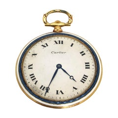 Cartier EWC Gold and Enamel 1920s Pocket Watch