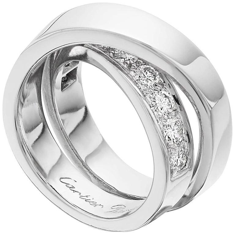 "Cartier Love ""Noubelle Vague Etincelle"" Diamond Ring in 18 K White Gold For Sale"