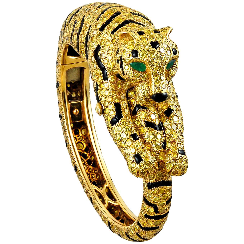 Cartier Fancy Yellow Diamond Gold Tiger Bangle Bracelet