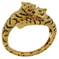 Cartier Fancy Yellow Diamond Emerald Onyx Two Headed Tiger Bangle Bracelet