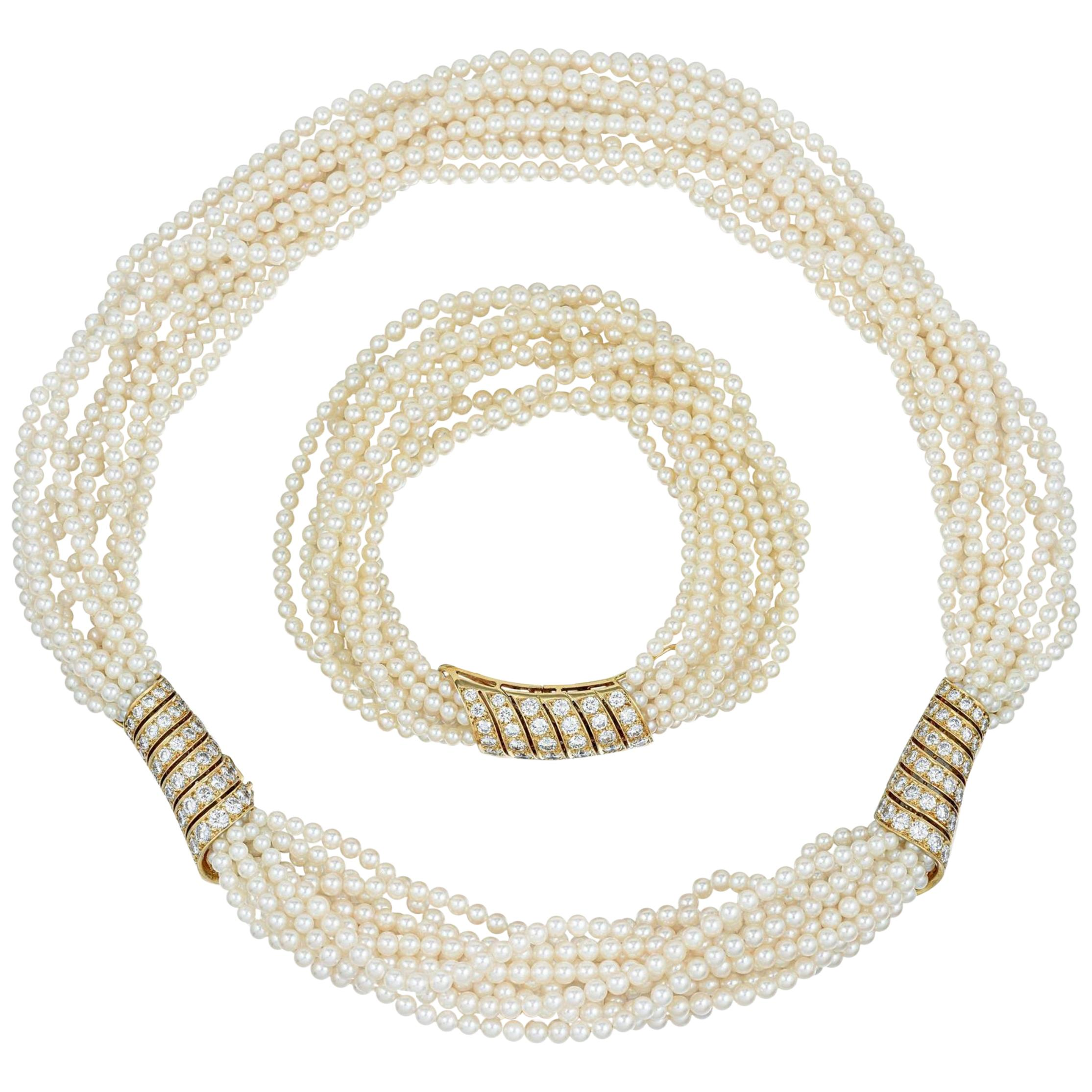 Cartier Fine Cultured Pearl and Diamond Necklace and Bracelet Set