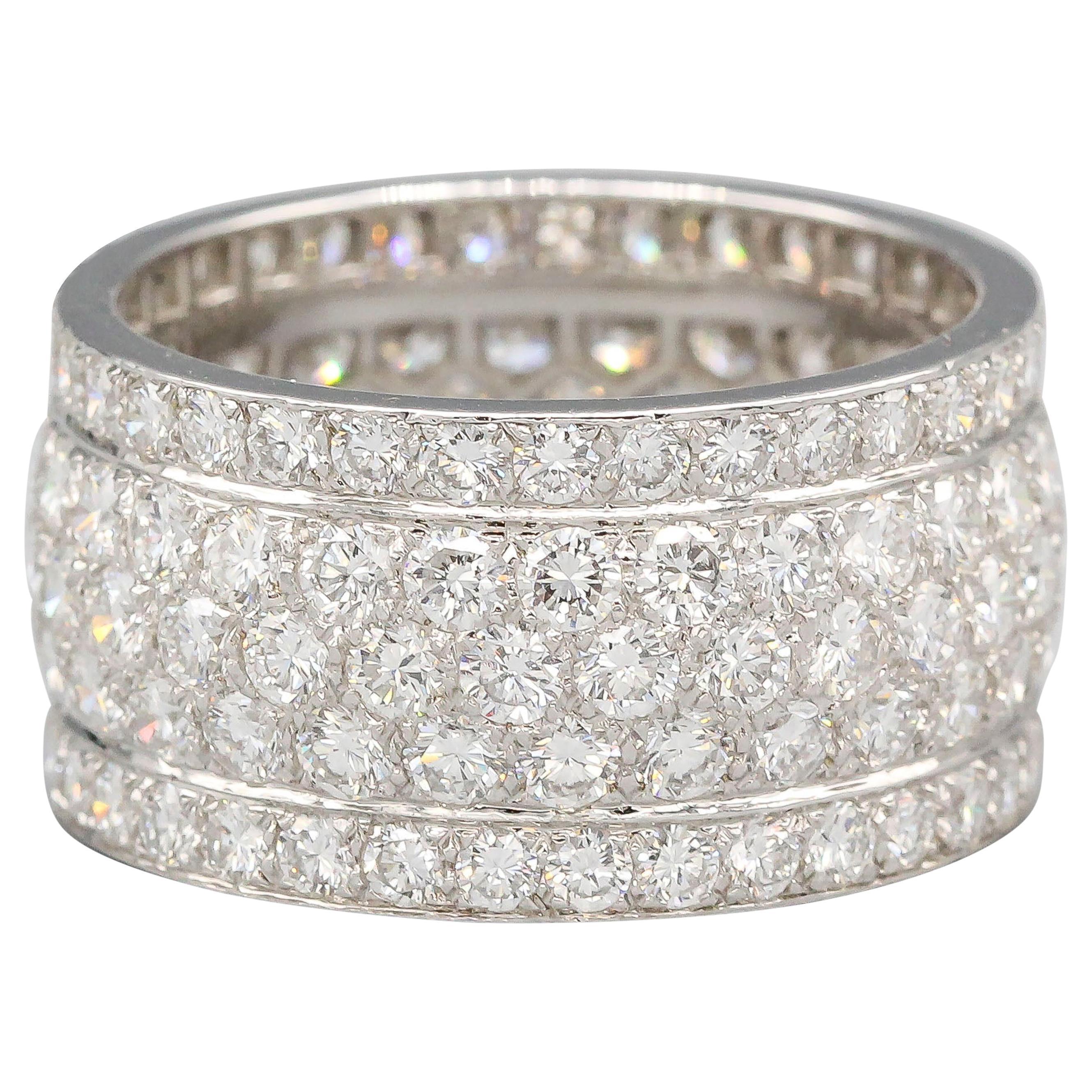 Cartier Five-Row Diamond 18 Karat White Gold Band