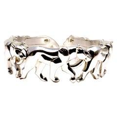 Cartier Five Walking 18 Karat White Gold Panthere Bracelet