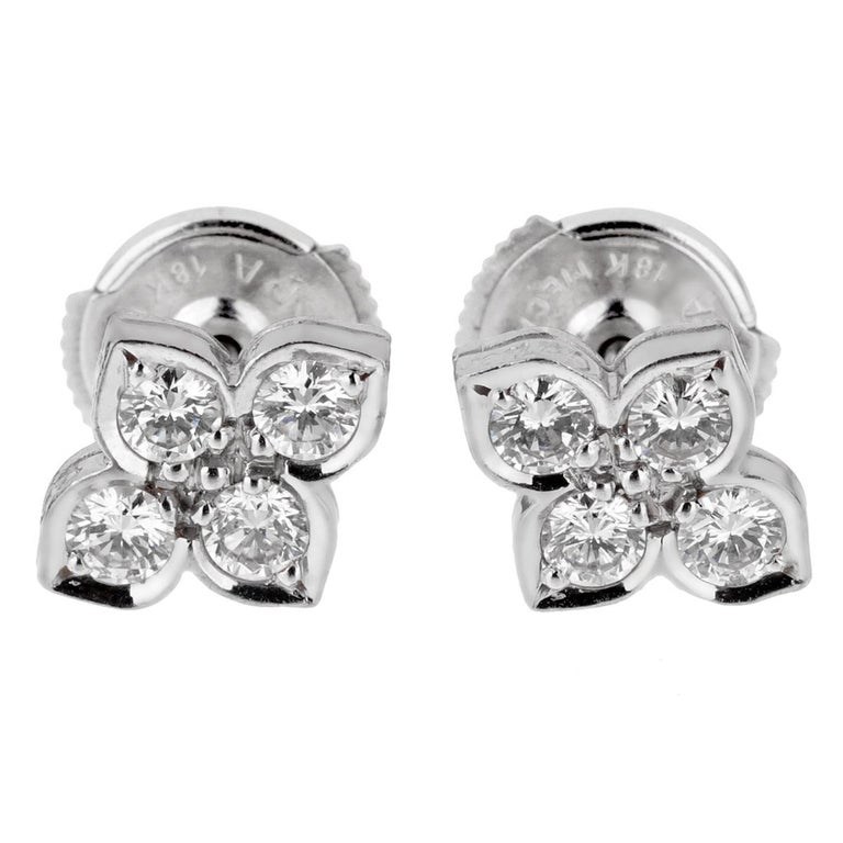 Cartier Flower Diamond White Gold Stud Earrings In Excellent Condition For Sale In Feasterville, PA