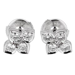 Cartier Flower Diamond White Gold Stud Earrings