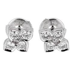 Cartier Flower Diamond White Gold Stud Earrings