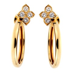 Cartier Flower Hoop Diamond 18 Karat Yellow Gold Earrings