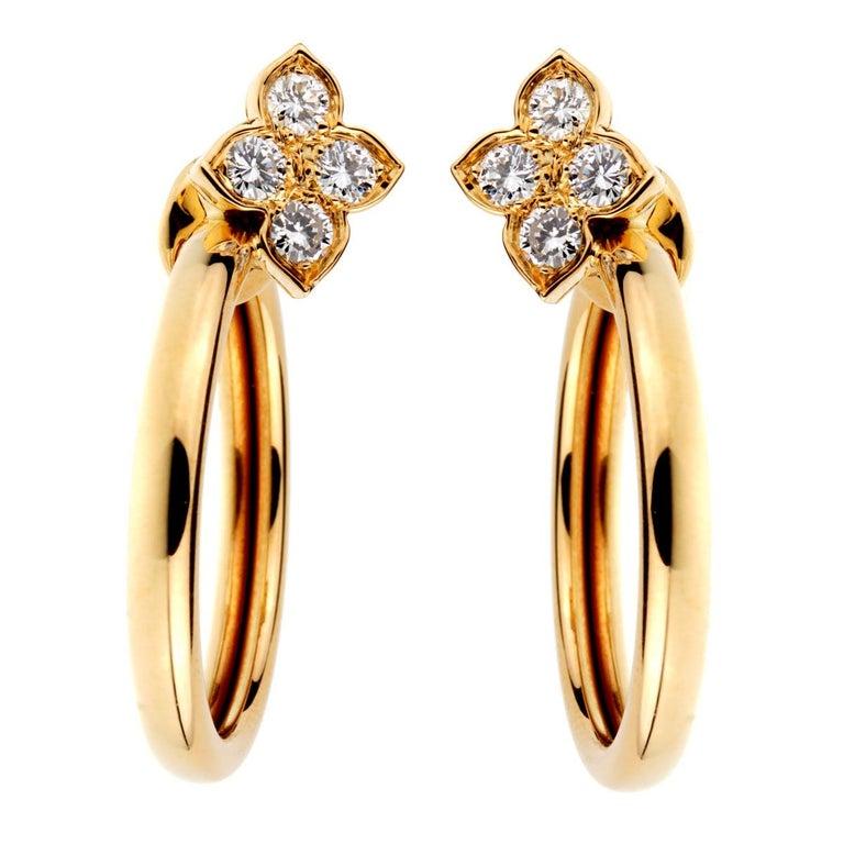 065d4cf53 Women's or Men's Cartier Flower Hoop Diamond 18 Karat Yellow Gold Earrings  For Sale