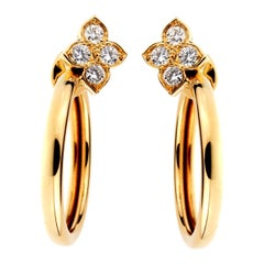 Cartier Flower Hoop Diamond Yellow Gold Earrings