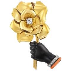 Cartier Flower in Hand Brooch