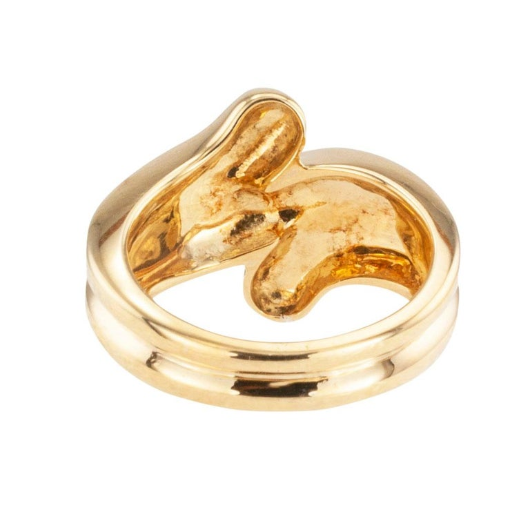 Women's Cartier Fluted Yellow Gold Ring Band For Sale