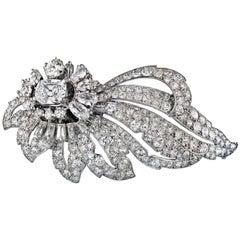 Cartier Foliate Diamond Platinum Vintage Brooch