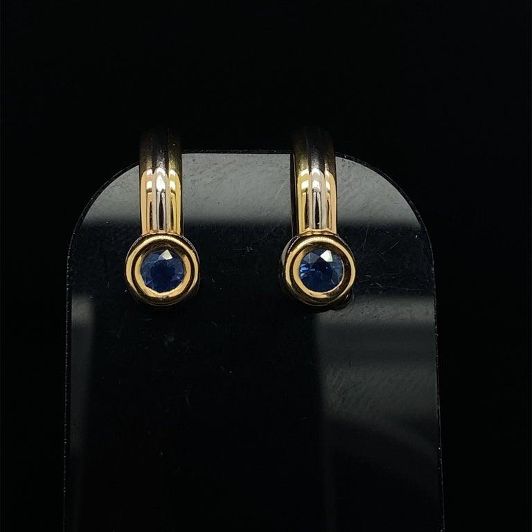 Cartier Forgorra Vintage Trinity Sapphire 18 Karat Tri-Gold Earrings For Sale 1