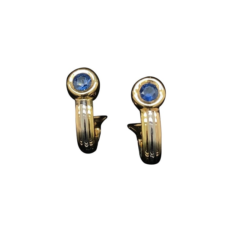 Cartier Forgorra Vintage Trinity Sapphire 18 Karat Tri-Gold Earrings For Sale
