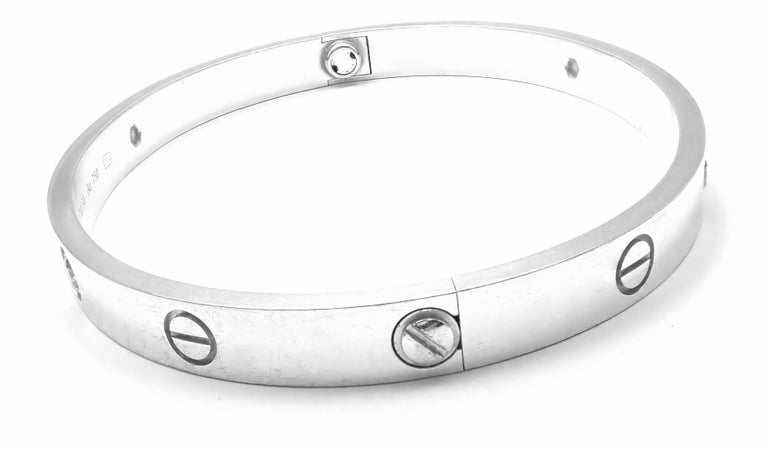 Cartier Four-Diamond White Gold New Screw System Love Bangle Bracelet For Sale 6