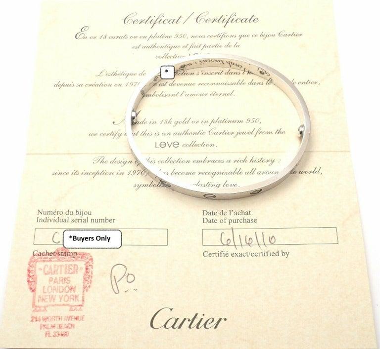 Cartier Four-Diamond White Gold New Screw System Love Bangle Bracelet 8