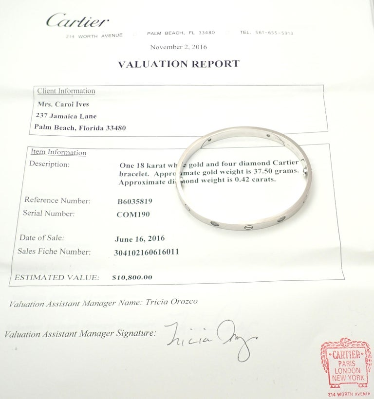 Women's or Men's Cartier Four-Diamond White Gold New Screw System Love Bangle Bracelet For Sale